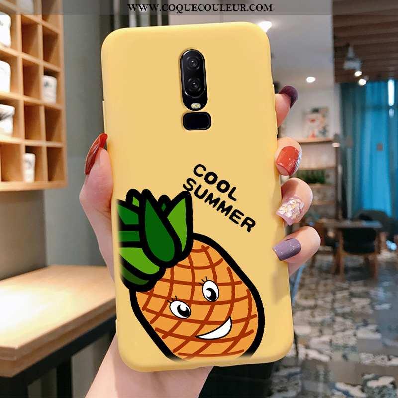 Coque Oneplus 6 Fluide Doux Citron Charmant, Housse Oneplus 6 Silicone Téléphone Portable Jaune