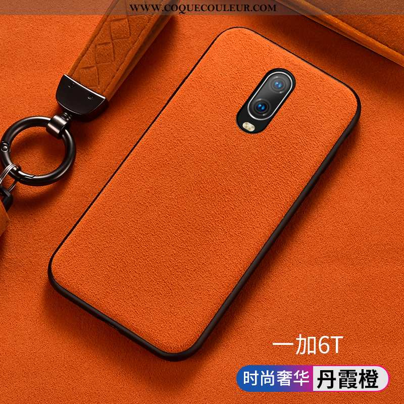 Étui Oneplus 6t Créatif Incassable Protection, Coque Oneplus 6t Fluide Doux Business Orange