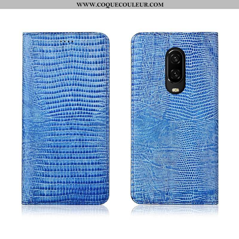 Étui Oneplus 6t Cuir Tout Compris, Coque Oneplus 6t Fluide Doux Protection Véritable Bleu