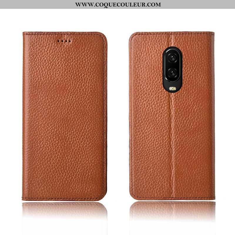 Étui Oneplus 6t Protection Téléphone Portable Coque, Coque Oneplus 6t Cuir Véritable Clamshell Khaki