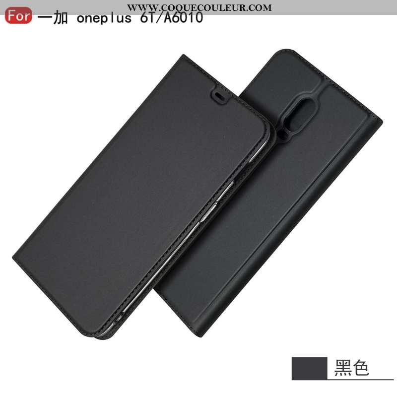 Housse Oneplus 6t Cuir Carte Support, Étui Oneplus 6t Protection Noir