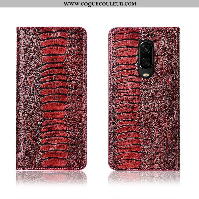 Housse Oneplus 6t Cuir Véritable Téléphone Portable Oiseau, Étui Oneplus 6t Cuir Silicone Rouge