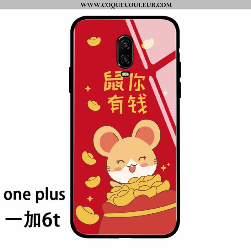 Coque Oneplus 6t Protection Silicone Rat, Housse Oneplus 6t Verre Rouge