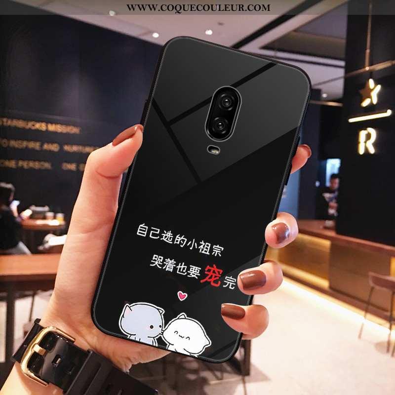 Étui Oneplus 6t Protection Dessin Animé, Coque Oneplus 6t Verre Téléphone Portable Noir