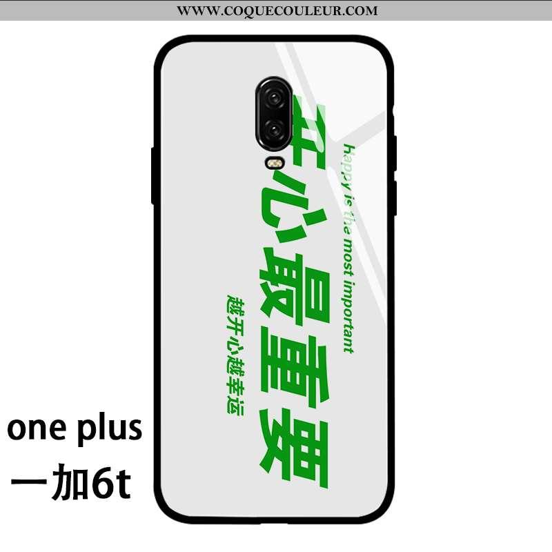 Housse Oneplus 6t Fluide Doux Cœur Incassable, Étui Oneplus 6t Silicone Personnalité Verte