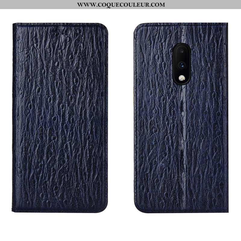 Housse Oneplus 7 Cuir Véritable Téléphone Portable Bleu Marin, Étui Oneplus 7 Modèle Fleurie Incassa