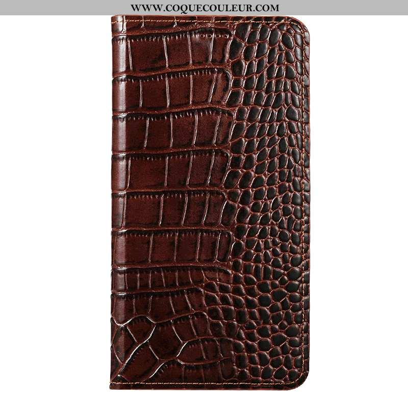 Housse Oneplus 7 Cuir Véritable Marron, Étui Oneplus 7 Cuir Téléphone Portable Marron