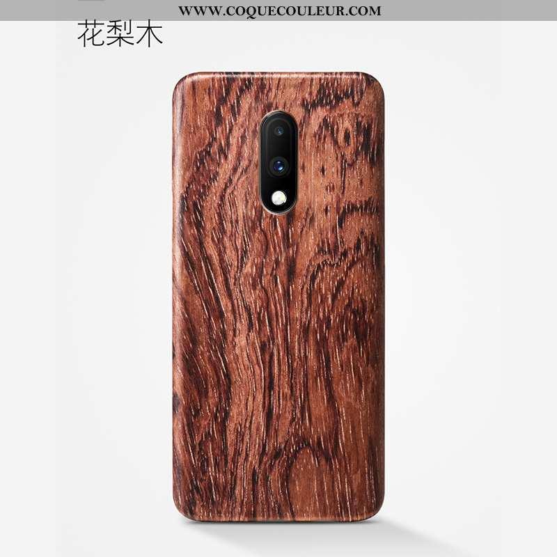 Housse Oneplus 7 Protection Étui Téléphone Portable, Oneplus 7 Délavé En Daim Fleur Marron