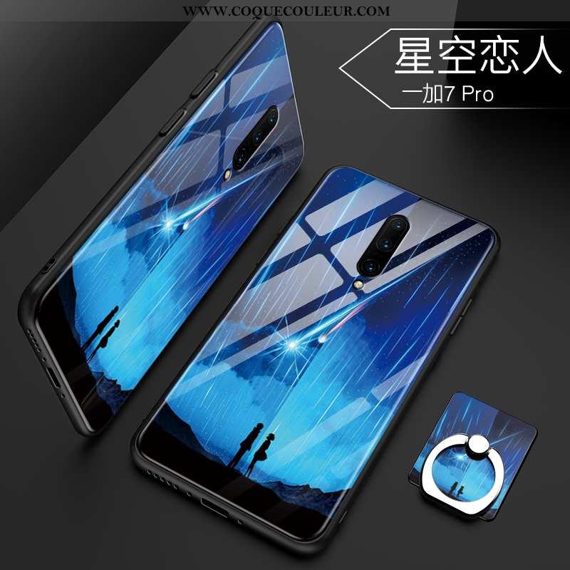 Étui Oneplus 7 Pro Tendance Verre Téléphone Portable, Coque Oneplus 7 Pro Protection Bleu