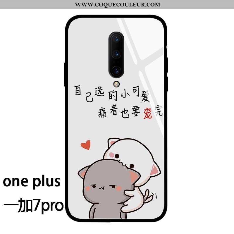 Coque Oneplus 7 Pro Tendance Petit Amoureux, Housse Oneplus 7 Pro Verre Téléphone Portable Blanche