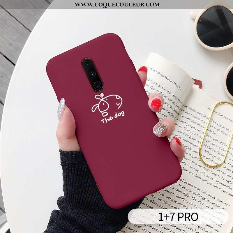 Étui Oneplus 7 Pro Fluide Doux Nouveau Chiens, Coque Oneplus 7 Pro Silicone Créatif Rouge