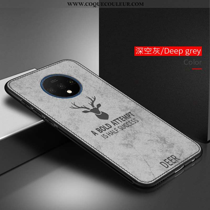 Coque Oneplus 7t Silicone Étui Incassable, Housse Oneplus 7t Mode Téléphone Portable Gris