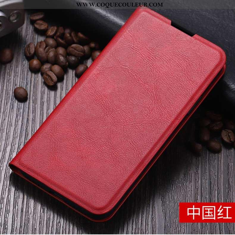Housse Oneplus 7t Portefeuille Portable Carte, Étui Oneplus 7t Cuir Coque Rouge