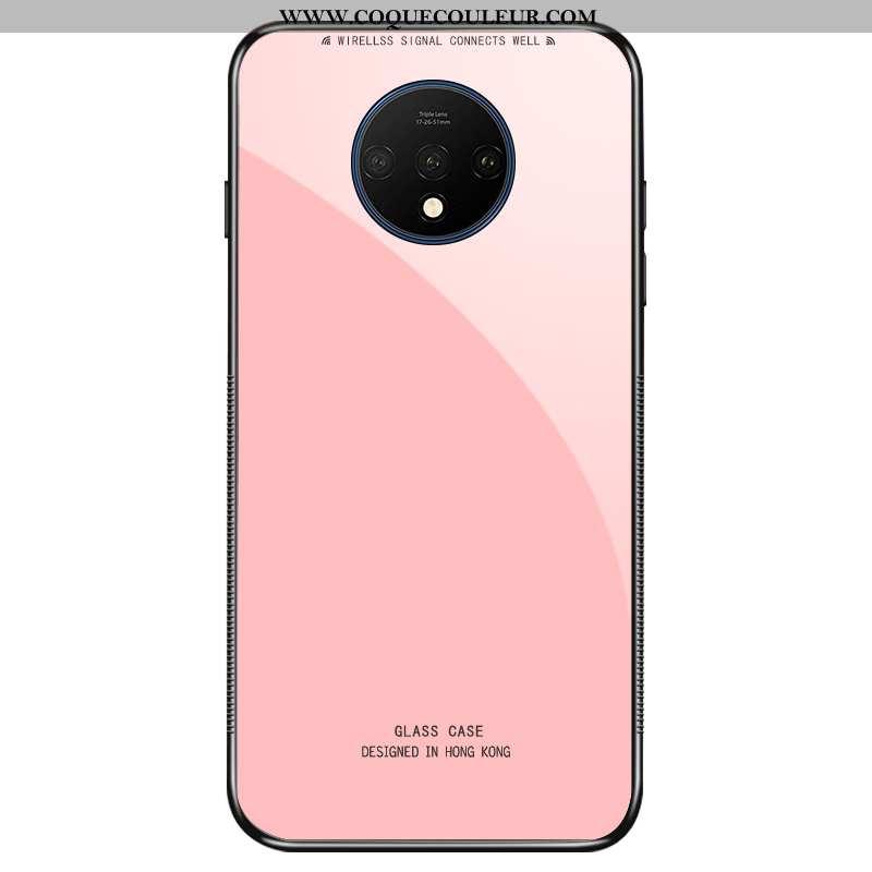 Coque Oneplus 7t Protection Fluide Doux Téléphone Portable, Housse Oneplus 7t Verre Rose