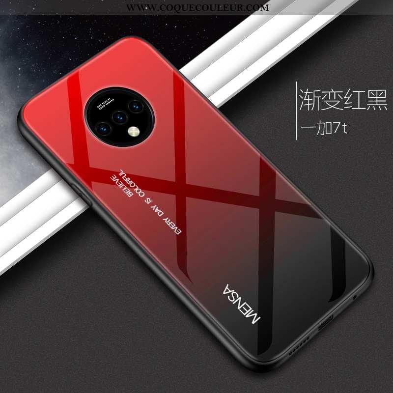 Étui Oneplus 7t Protection Coque Étui, Oneplus 7t Verre Incassable Rouge