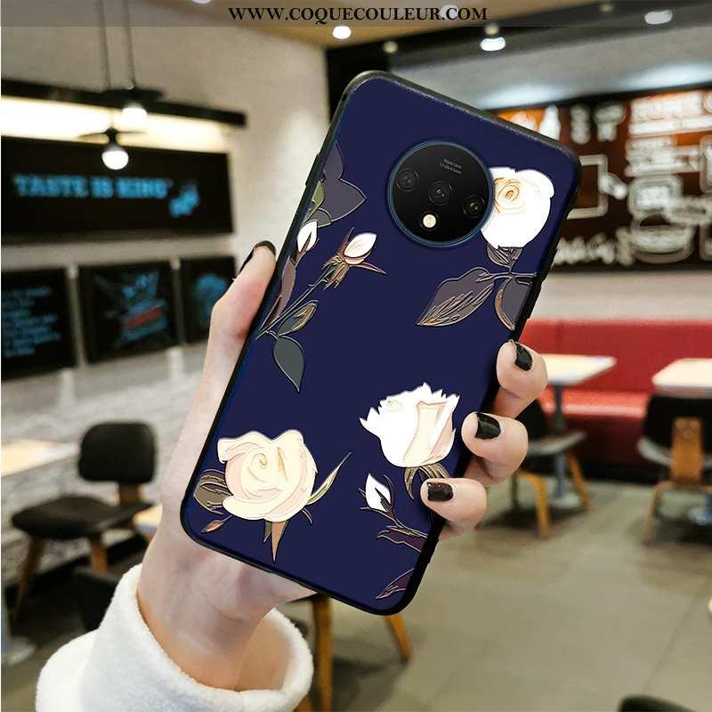 Coque Oneplus 7t Créatif Délavé En Daim Incassable, Housse Oneplus 7t Gaufrage Style Chinois Bleu Fo
