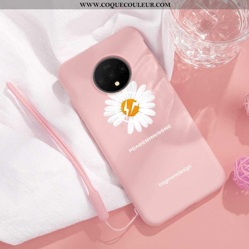Housse Oneplus 7t Silicone Frais Rose, Étui Oneplus 7t Téléphone Portable Incassable Rose