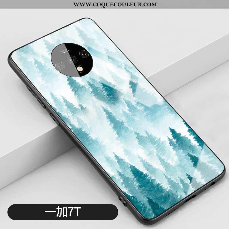 Étui Oneplus 7t Silicone Difficile Vert, Coque Oneplus 7t Verre Téléphone Portable Verte