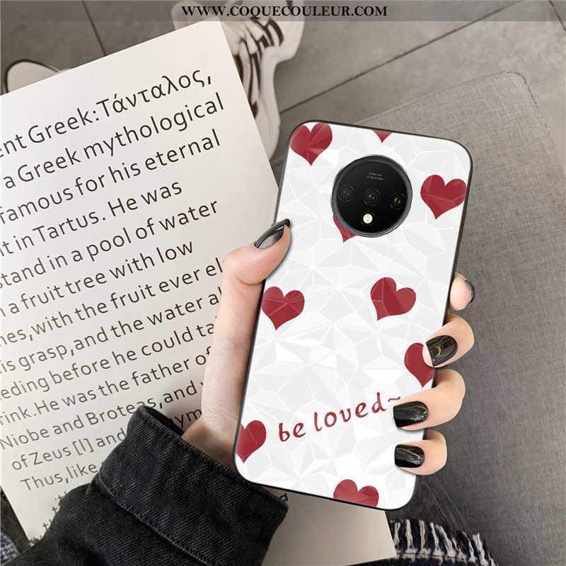 Housse Oneplus 7t Modèle Fleurie Net Rouge Téléphone Portable, Étui Oneplus 7t Personnalité Point D'