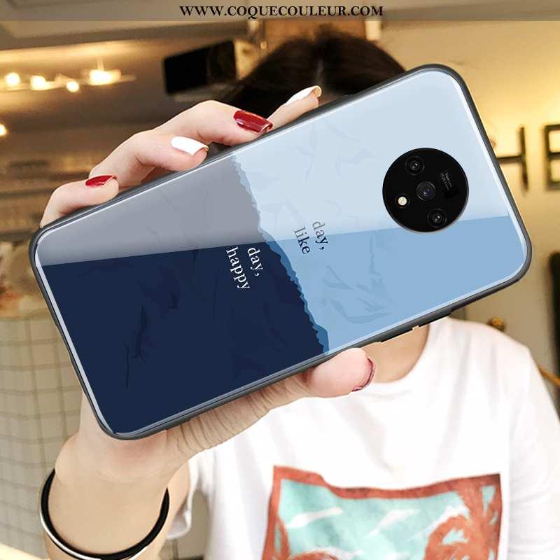 Étui Oneplus 7t Personnalité Verre Bleu, Coque Oneplus 7t Créatif Incassable Bleu