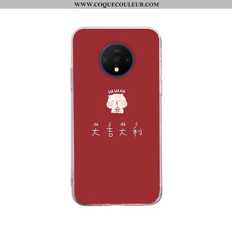 Étui Oneplus 7t Légère Dessin Animé, Coque Oneplus 7t Fluide Doux Téléphone Portable Rouge