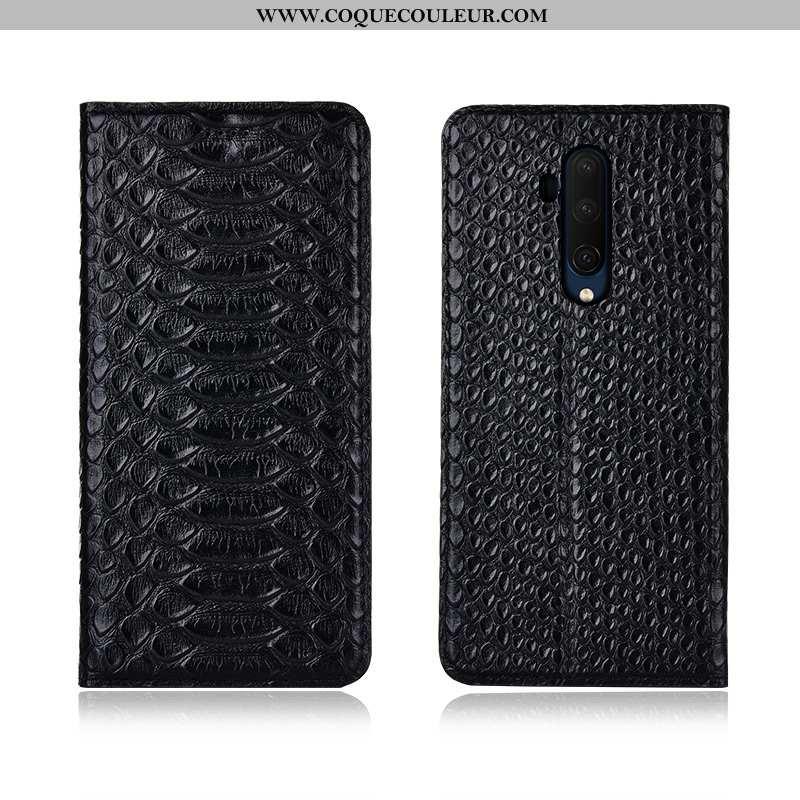 Étui Oneplus 7t Pro Fluide Doux Cuir Véritable Cuir, Coque Oneplus 7t Pro Protection Noir