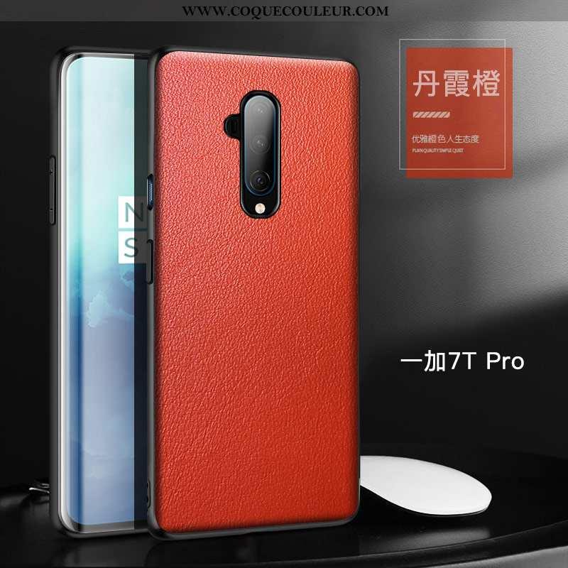 Étui Oneplus 7t Pro Tendance Téléphone Portable Protection, Coque Oneplus 7t Pro Cuir Orange