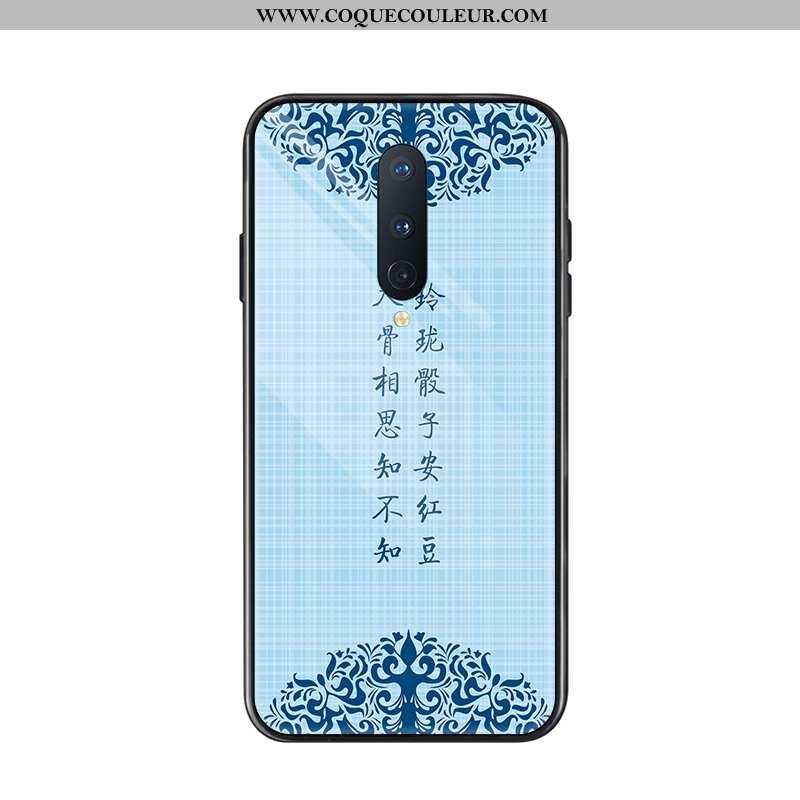 Housse Oneplus 8 Verre Nouveau Protection, Étui Oneplus 8 Tendance Vent Bleu