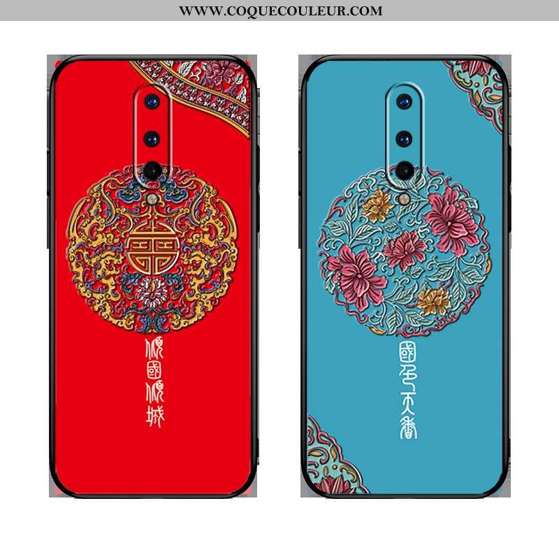 Housse Oneplus 8 Personnalité Gaufrage Étui, Étui Oneplus 8 Créatif Style Chinois Rouge