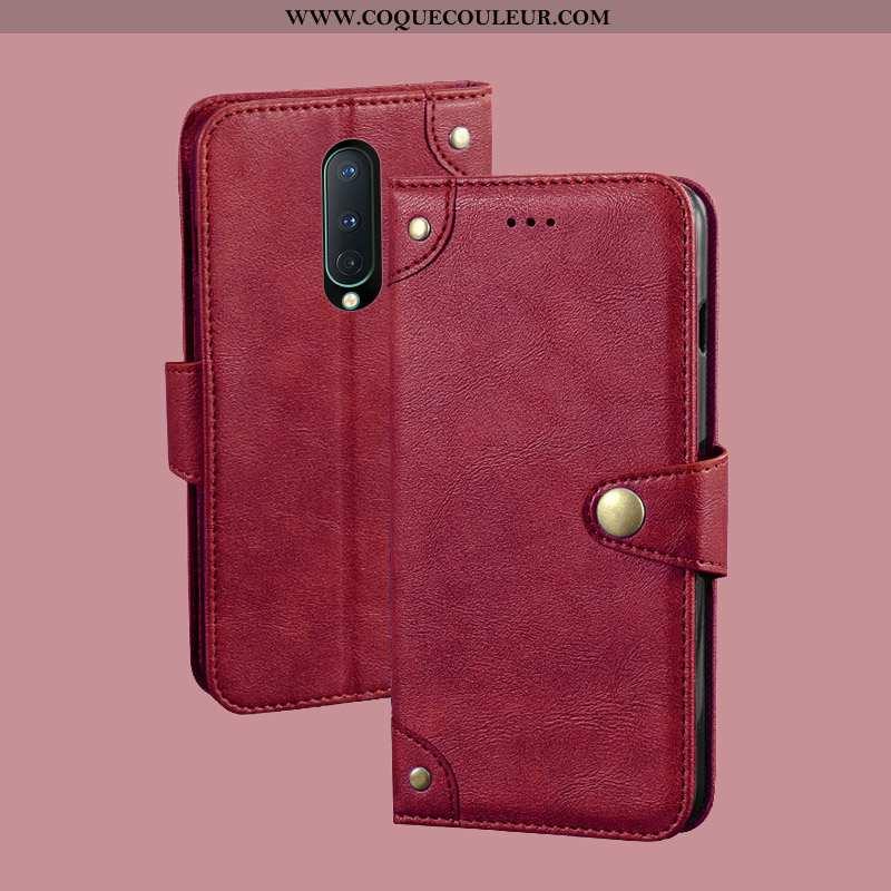 Étui Oneplus 8 Protection Téléphone Portable Rouge, Coque Oneplus 8 Portefeuille Carte Rouge