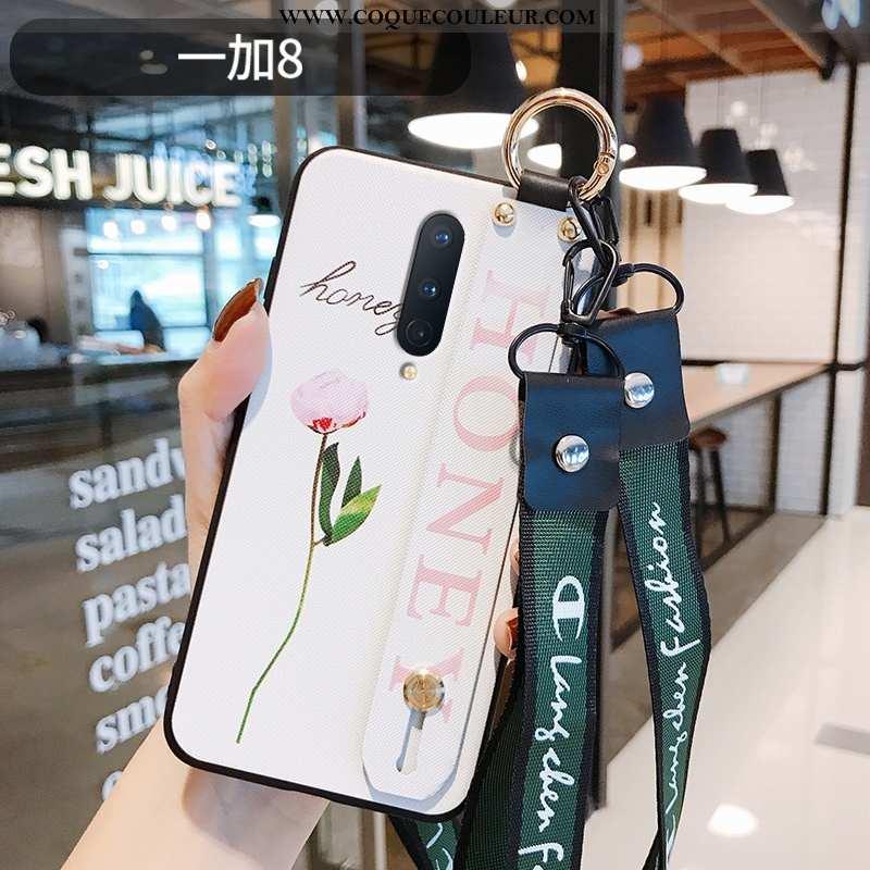 Coque Oneplus 8 Légère Téléphone Portable, Housse Oneplus 8 Fluide Doux Fleur Blanche