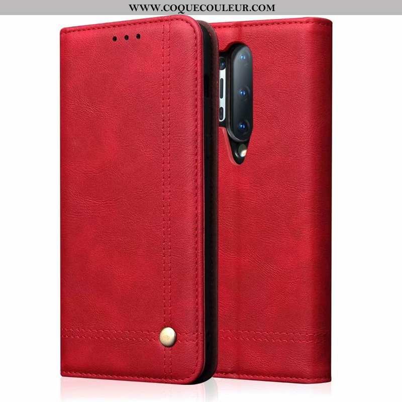 Coque Oneplus 8 Pro Personnalité Incassable Clamshell, Housse Oneplus 8 Pro Cuir Véritable Luxe Roug