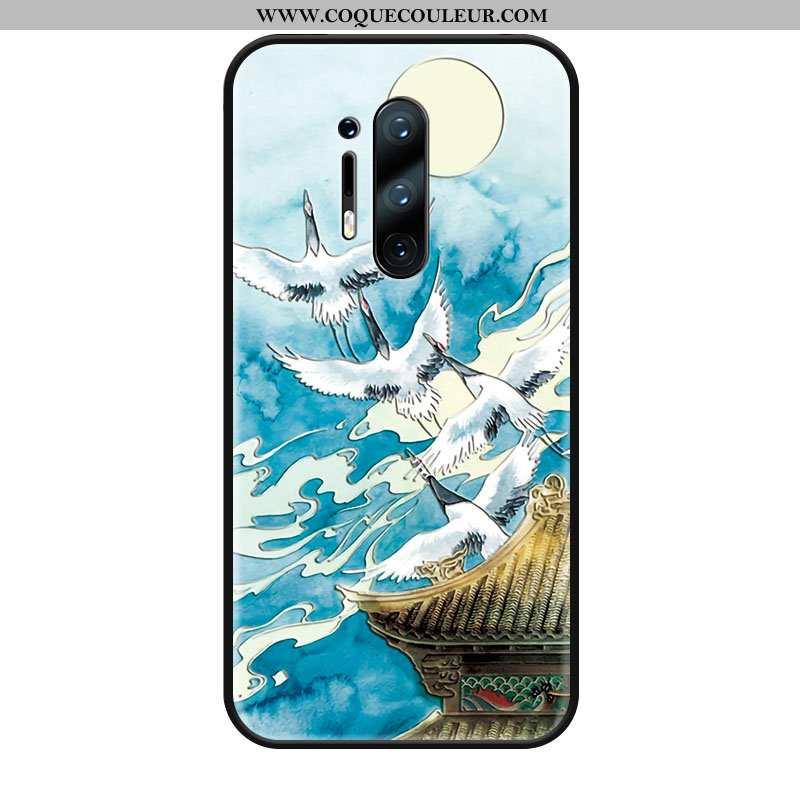 Housse Oneplus 8 Pro Créatif Téléphone Portable Style Chinois, Étui Oneplus 8 Pro Gaufrage Bleu