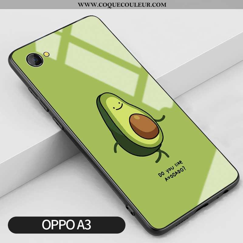 Coque Oppo A3 Dessin Animé Vert Verre, Housse Oppo A3 Silicone Incassable Verte