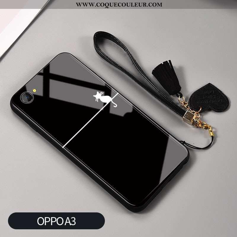 Housse Oppo A3 Verre Téléphone Portable Blanc, Étui Oppo A3 Créatif Silicone Noir