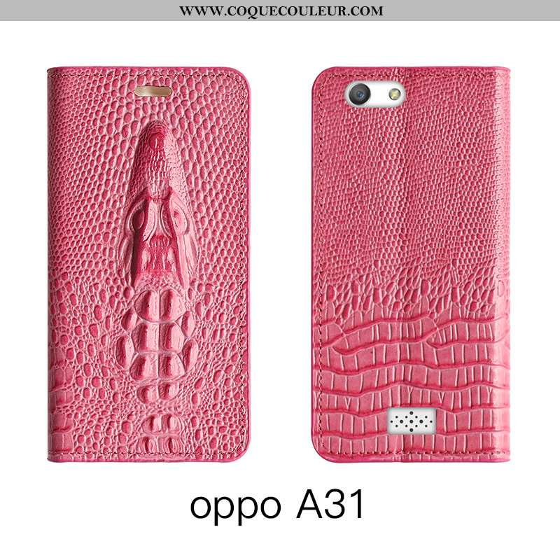 Coque Oppo A31 Cuir Véritable Étui Rouge, Housse Oppo A31 Cuir Protection Rose