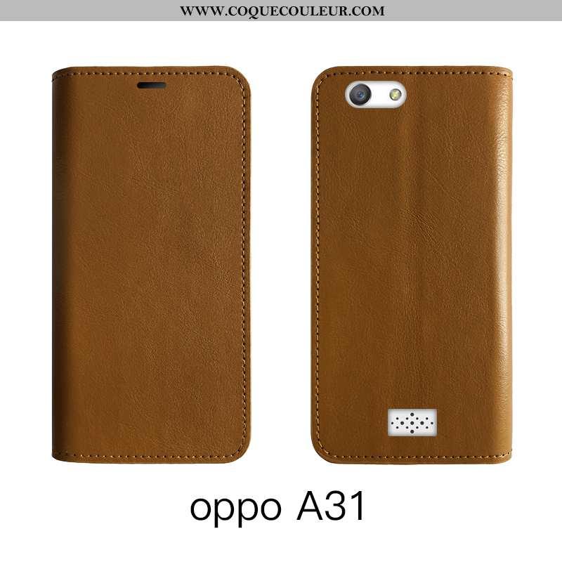 Étui Oppo A31 Protection Marron Téléphone Portable, Coque Oppo A31 Cuir Véritable Housse