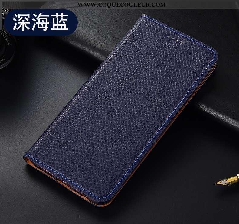 Housse Oppo A5 2020 Cuir Véritable Étui Housse, Oppo A5 2020 Modèle Fleurie Téléphone Portable Bleu