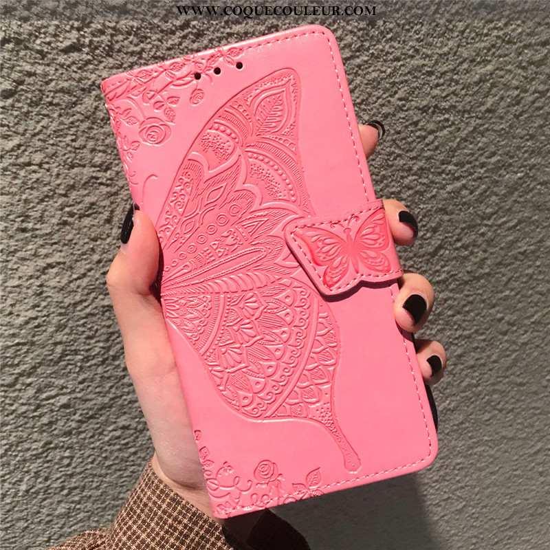 Étui Oppo A5 2020 Cuir Coque Rouge, Oppo A5 2020 Protection Téléphone Portable Rose