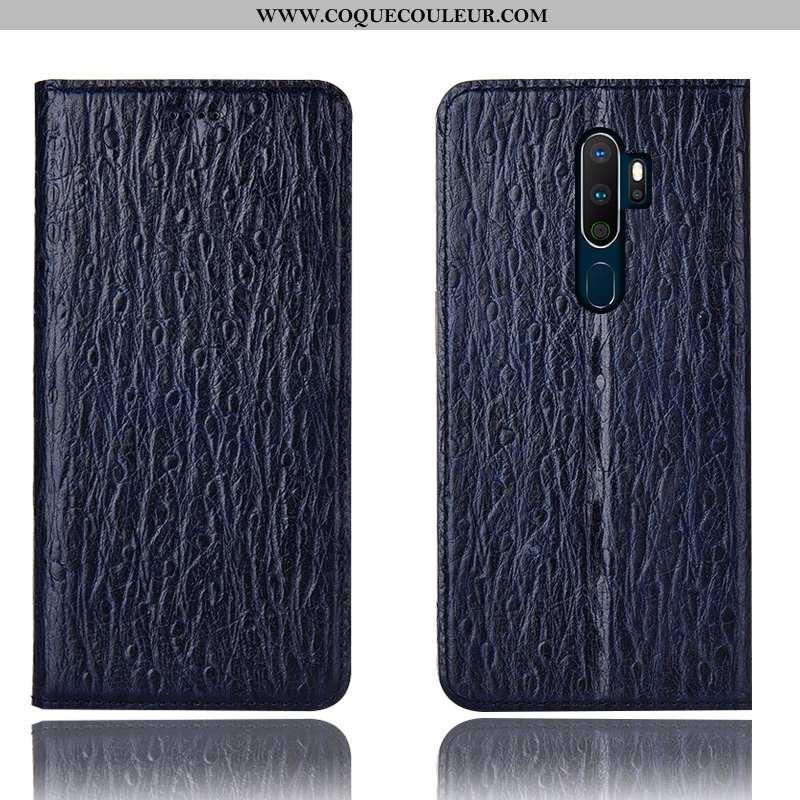 Étui Oppo A5 2020 Protection Coque Téléphone Portable, Oppo A5 2020 Cuir Véritable Incassable Bleu F