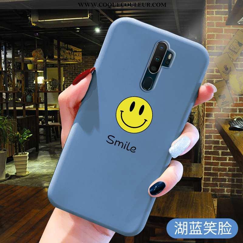 Étui Oppo A5 2020 Fluide Doux Incassable, Coque Oppo A5 2020 En Silicone Protection Bleu