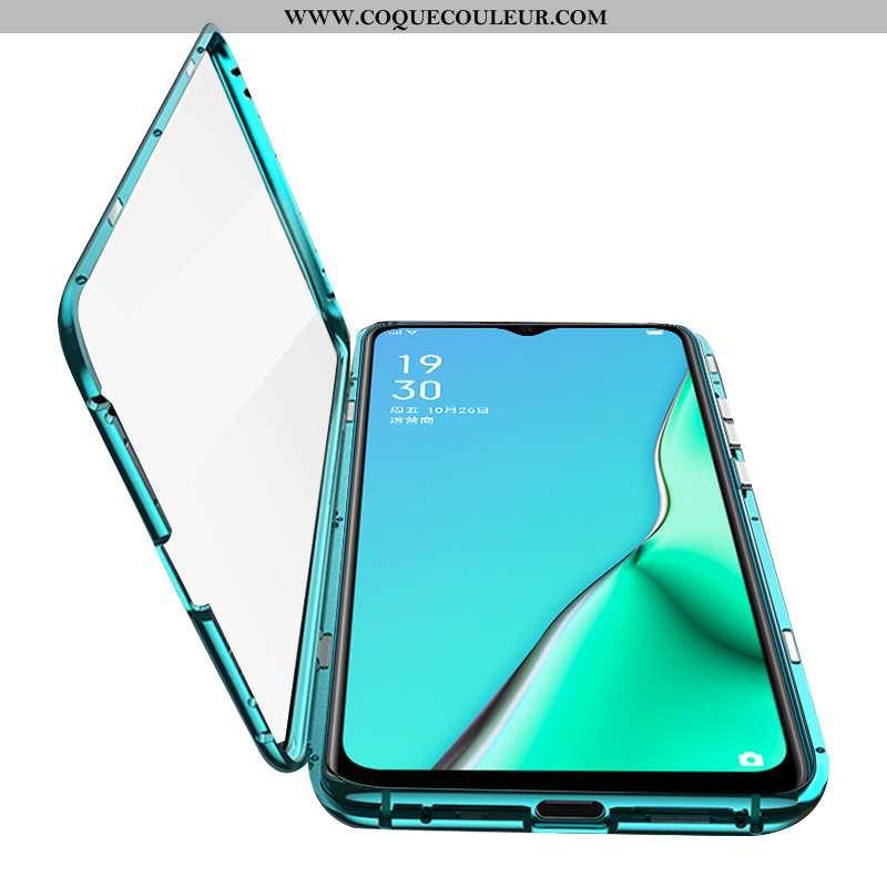 Coque Oppo A5 2020 Verre Reversible Vert, Housse Oppo A5 2020 Protection Téléphone Portable Verte