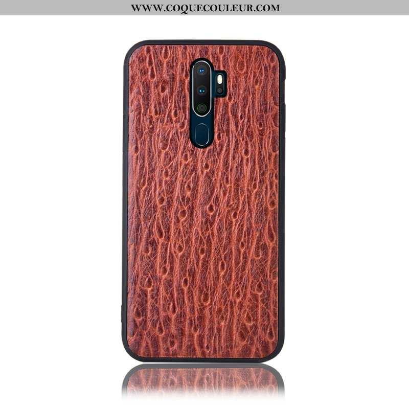 Housse Oppo A5 2020 Protection Arbres Téléphone Portable, Étui Oppo A5 2020 Cuir Véritable Incassabl
