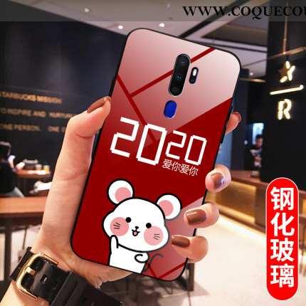 Housse Oppo A5 2020 Verre Amoureux Rouge, Étui Oppo A5 2020 Fluide Doux Net Rouge
