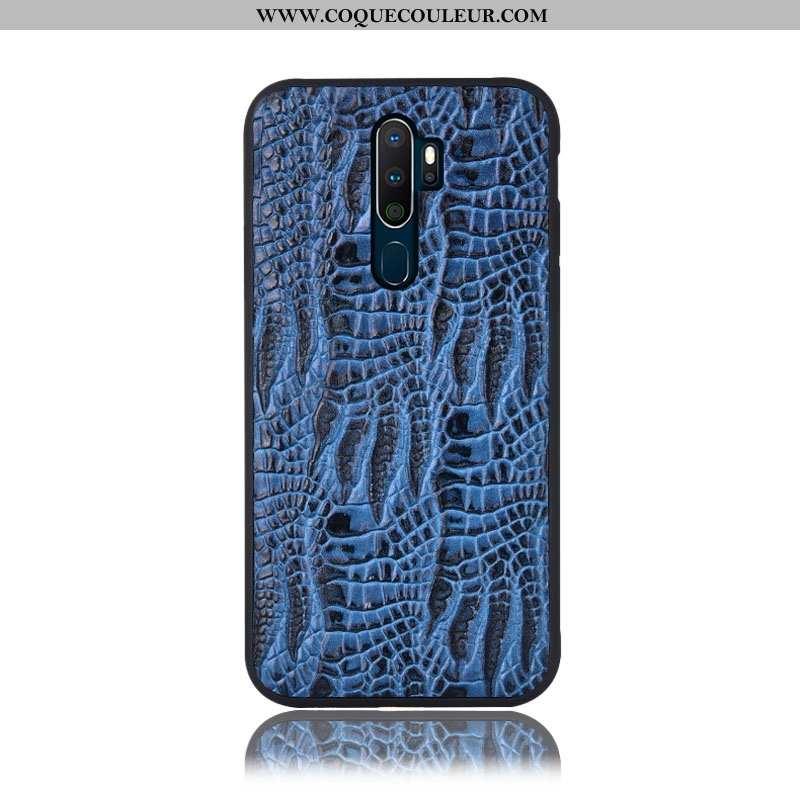 Coque Oppo A5 2020 Protection Téléphone Portable Crocodile, Housse Oppo A5 2020 Cuir Véritable Incas