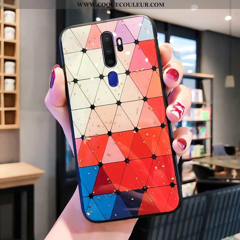 Coque Oppo A5 2020 Verre Téléphone Portable Étui, Housse Oppo A5 2020 Personnalité Net Rouge