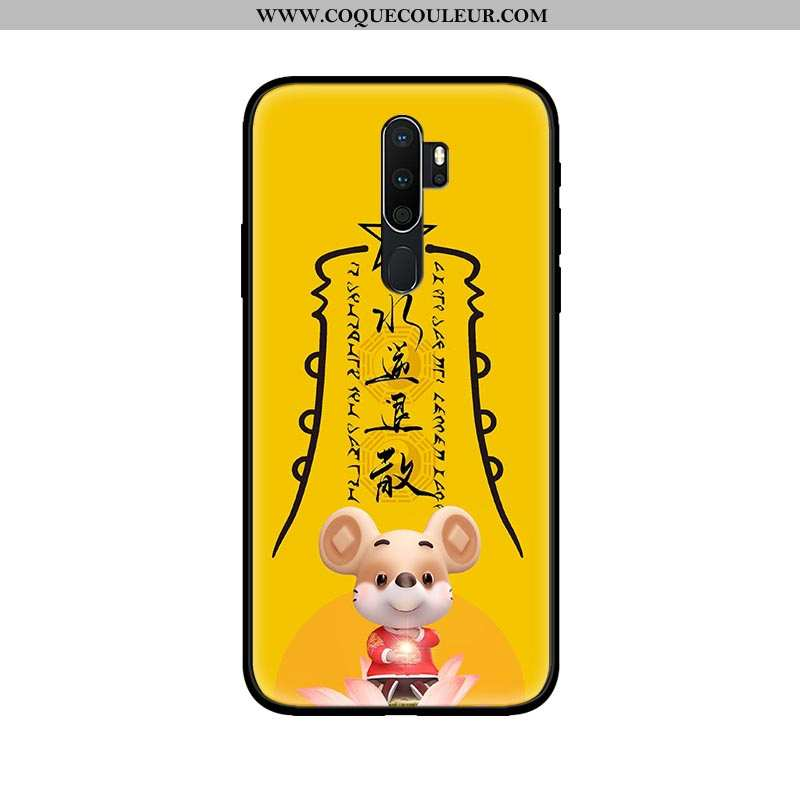 Housse Oppo A5 2020 Verre Amoureux Téléphone Portable, Étui Oppo A5 2020 Délavé En Daim Coque Jaune