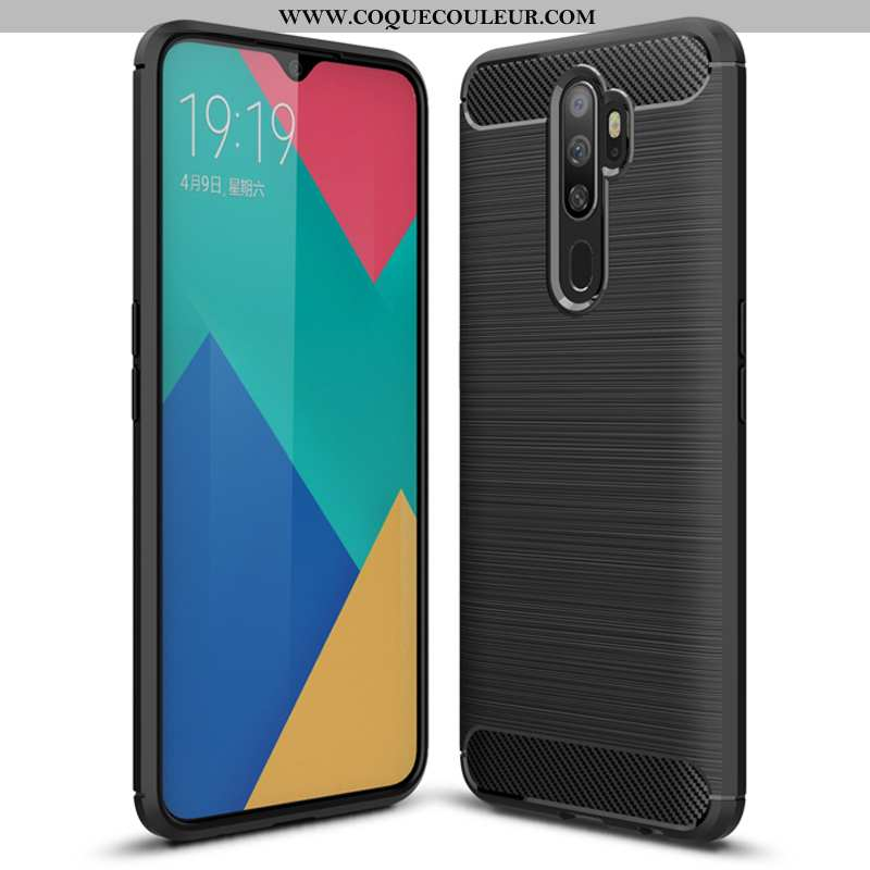 Coque Oppo A5 2020 Protection Fluide Doux Téléphone Portable, Housse Oppo A5 2020 Tendance Noir