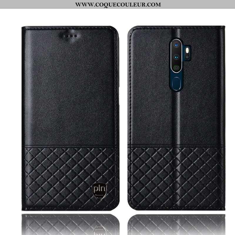 Coque Oppo A5 2020 Cuir Véritable Noir Incassable, Housse Oppo A5 2020 Protection