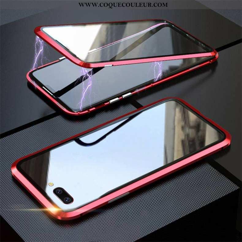 Housse Oppo A5 Protection Téléphone Portable Magnétisme, Étui Oppo A5 Verre Rouge